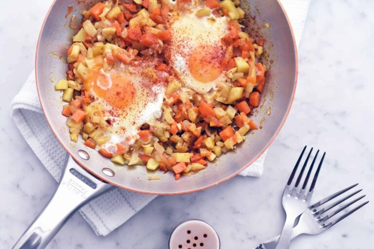 My breakfast vegetable hash with smoked paprika eggs