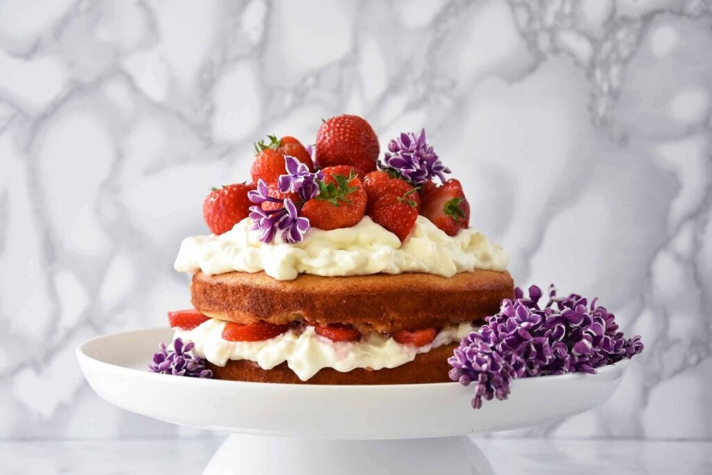 My almond and maple cake with strawberries and mascarpone cream