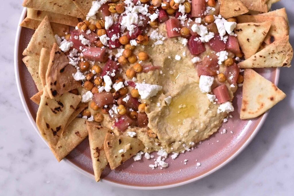 My roasted rhubarb with hummus, feta and homemade tortilla chips