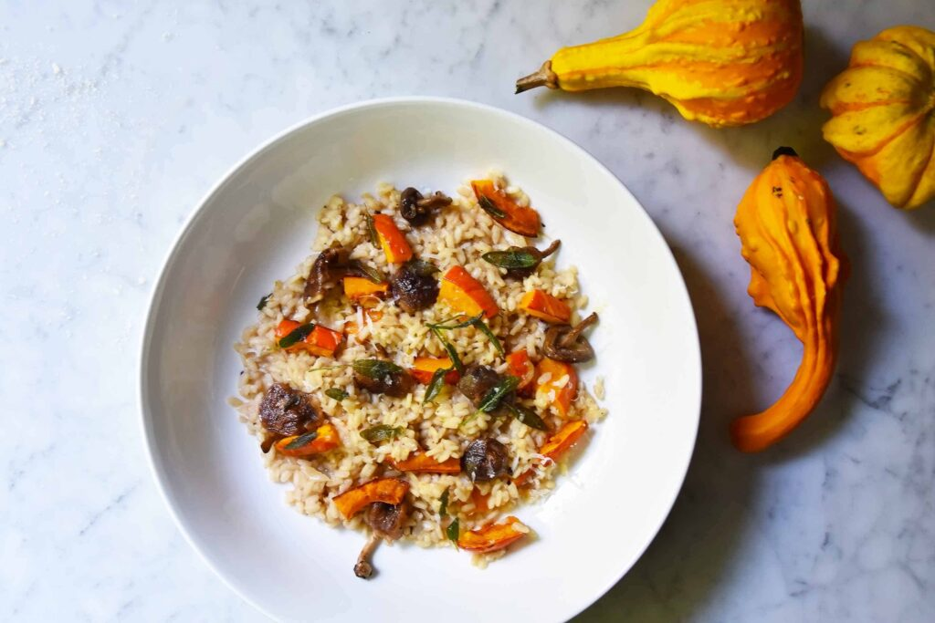 My Autumn risotto with pumpkin and mushrooms