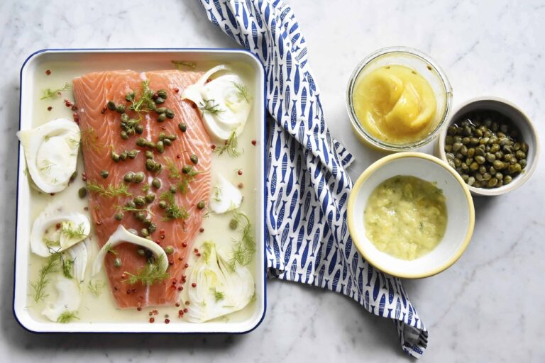 My poached salmon with capers and fennel
