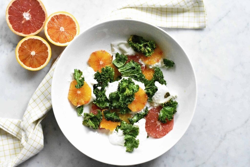 My winter citrus, crispy kale and creamy burrata salad