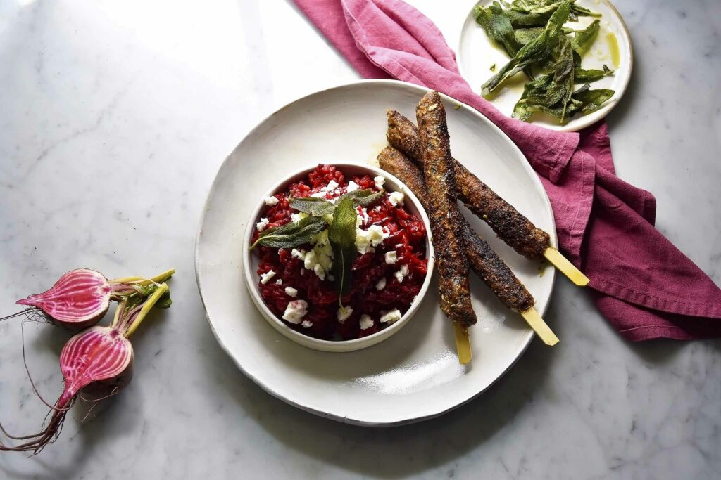 My baby beetroot risotto with feta and sage