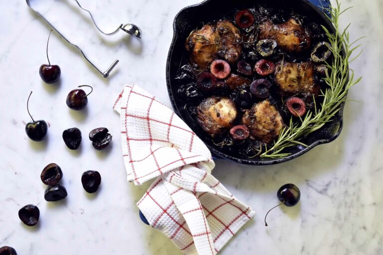 My one-pan oven roasted cherry chicken with rosemary