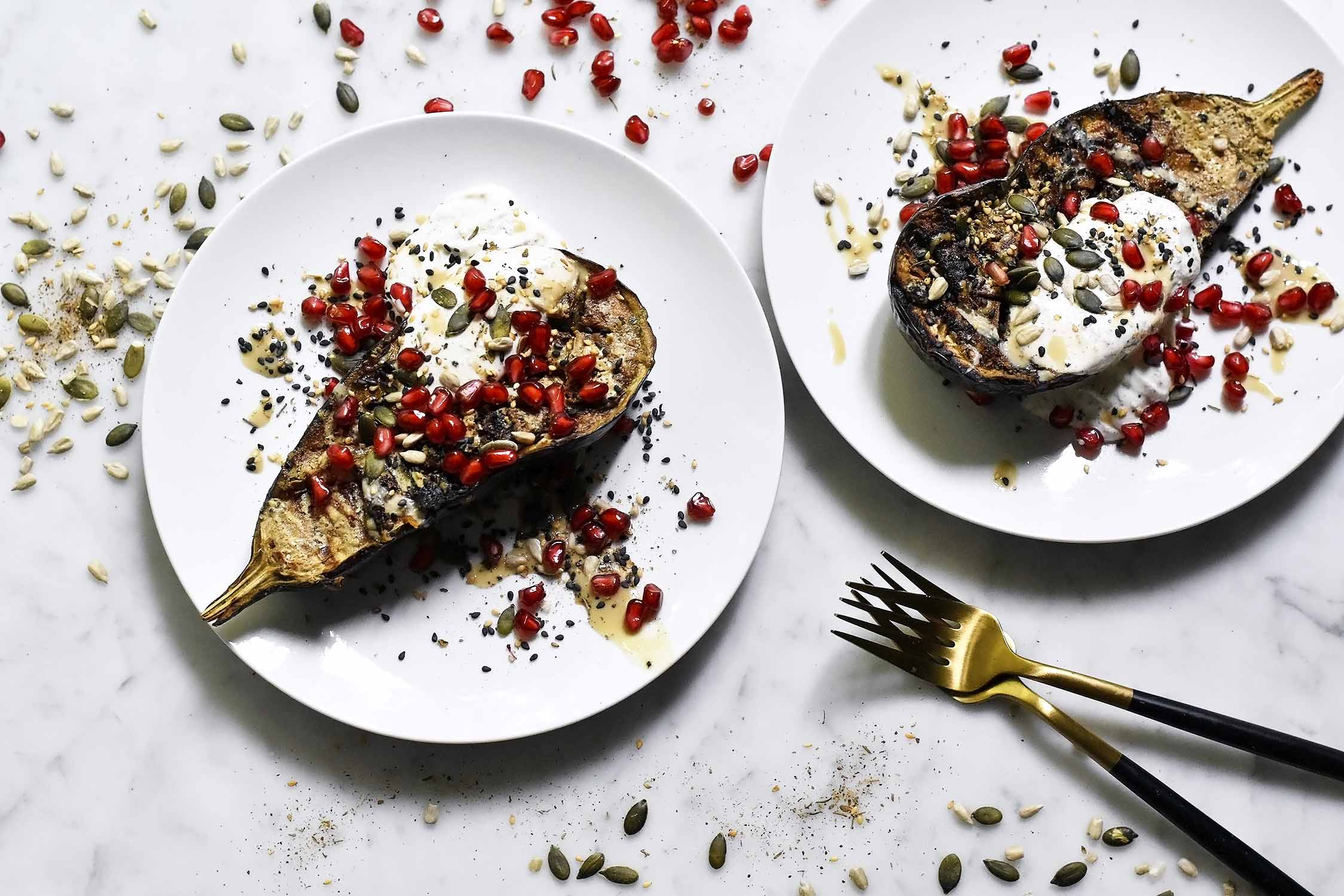 My roasted aubergine with tahini sour cream and pomegranate