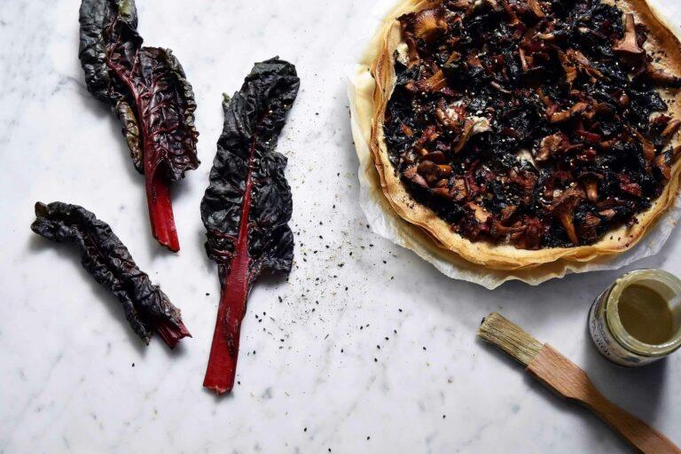 My ruby Swiss chard, girolles mushrooms and tahini filo tart