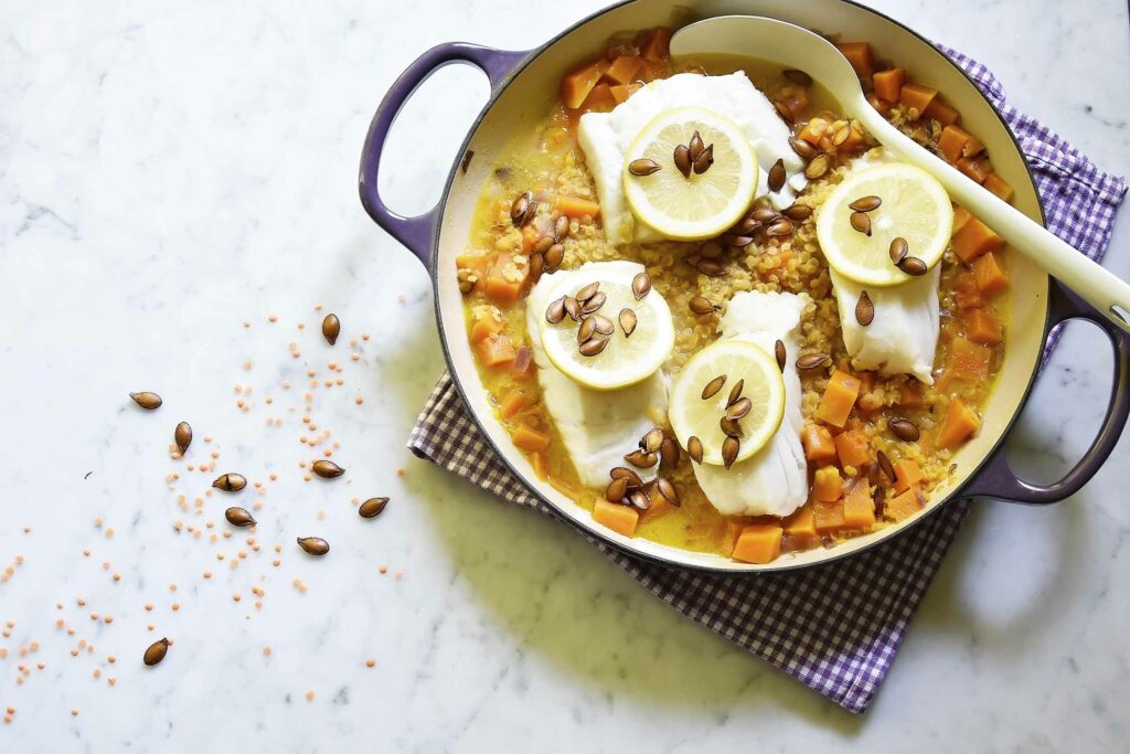 My pumpkin, orange lentils and steamed cod one-pan dinner