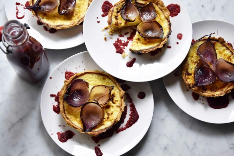 My onion and parmesan custard tartelette with pomegranate, beetroot ketchup
