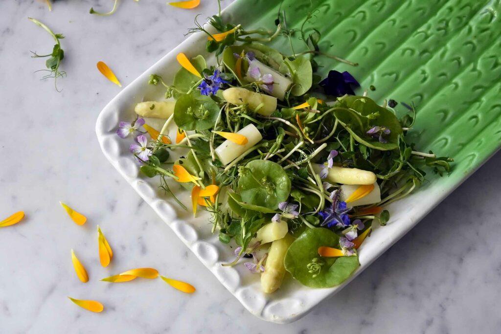My floral white asparagus salad