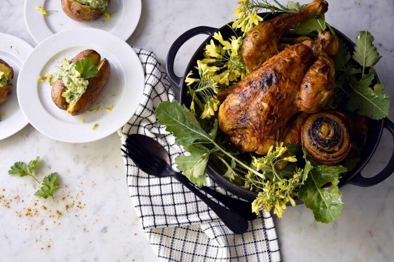 My raz-el-hanout roasted chicken with oven potatoes and kohlrabi cream