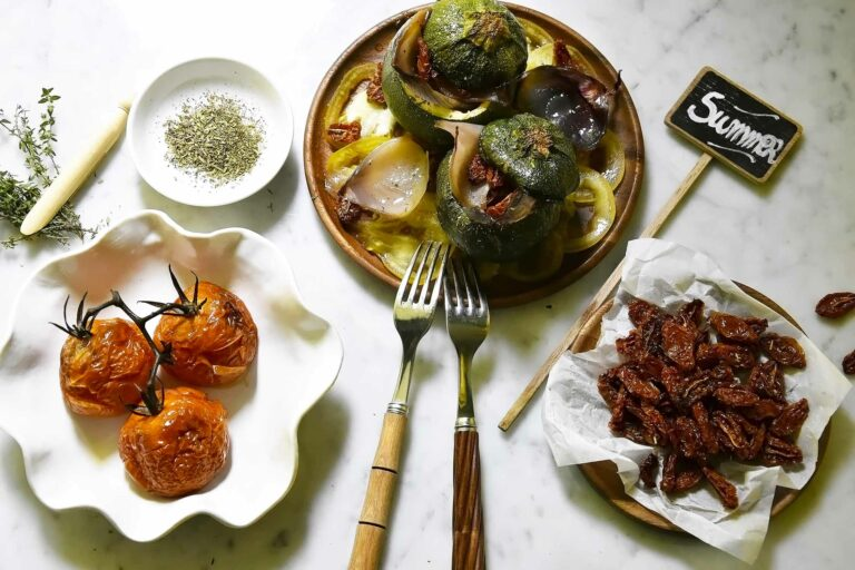My stuffed oven-roasted courgettes and tomatoes 3 ways